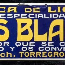 Carteles Publicitarios: CARTEL FÁBRICA DE LICORES ESPECIALIDAD ANÍS BLANCH - JUAN BLANCH - TORREGROSA (LÉRIDA). Lote 188681626