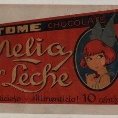 Carteles Publicitarios: VIEJO CARTEL DE CELULOIDE - FRAGIL - CHOCOLATE NELIA CON LECHE - SOBRE CARTÓN. Lote 190011025