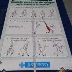 Carteles Publicitarios: CARTEL POSTER ASEPEYO 1987 Nº 104 ( MANEJO CORRECTO DE CARGAS PARA PROTEGER LA ESPALDA) 64 X 43,5 CM. Lote 190038378