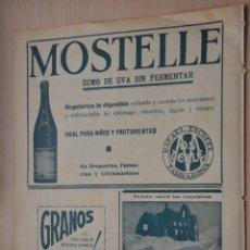 Carteles Publicitarios: HOJA PUBLICIDAD ZUMO MOSTELLE, TARRAGONA, GALLETAS BIRBA, CAMPRODON, UNGUENTO GUARDIAS. Lote 191068852