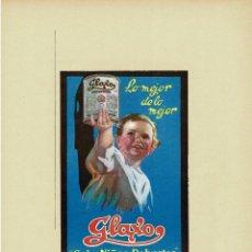 Carteles Publicitarios: CARTEL PUBLICIDAD GLAXO, LECHE EN POLVO, CRIA NIÑOS ROBUSTOS. 40X29,5.. Lote 191476016