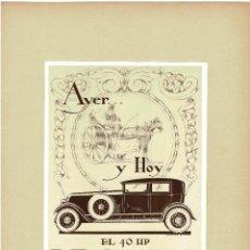Cartazes Publicitários: CARTEL PUBLICIDAD COCHE EL 40 HP RENAULT. 40X29,5.. Lote 191476182