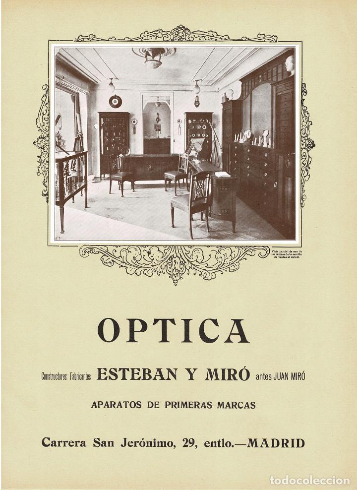 CARTEL PUBLICIDAD OPTICA ESTEBAN Y MIRÓ. 40X29,5. (Coleccionismo - Carteles Gran Formato - Carteles Publicitarios)