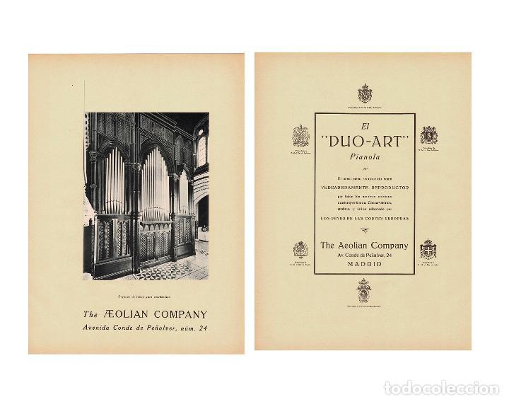 CARTEL PUBLICIDAD THE AEOLIAN COMPANY. CONDE PEÑALVER 24.MADRID. 40X29,5. (Coleccionismo - Carteles Gran Formato - Carteles Publicitarios)
