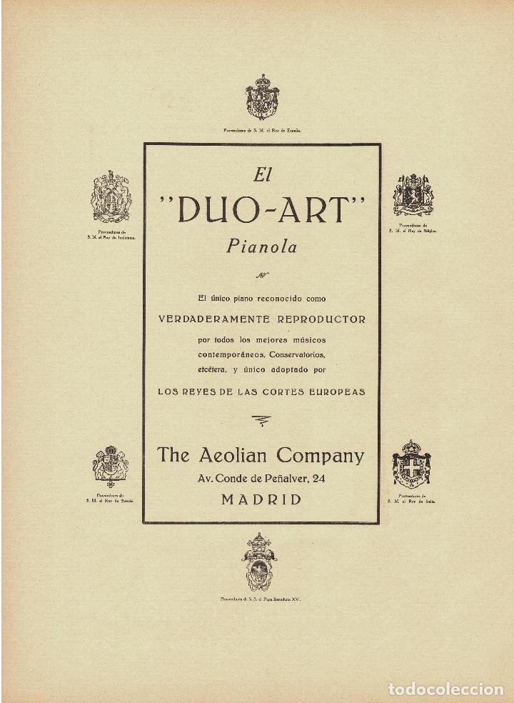 Carteles Publicitarios: CARTEL PUBLICIDAD THE AEOLIAN COMPANY. CONDE PEÑALVER 24.MADRID. 40X29,5. - Foto 3 - 191477792