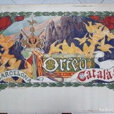 Carteles Publicitarios: CARTEL PUBLICIDAD ORFEO CATALA DE ADRIA GUAL LITOGRAFIA ANTIGUO MODERNISTA ORIGINAL . Lote 191488402