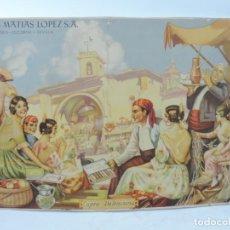 Carteles Publicitarios: CARTEL LITOGRAFIA PUBLICIDAD SUCESORES DE MATIAS LOPEZ S.A. MADRID - ESCORIAL - SEVILLA, CAPEA VALEN. Lote 191568802