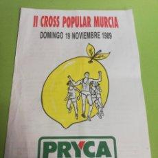 Carteles Publicitarios: PRYCA II CROSS POPULAR MURCIA AÑO 1989. Lote 191587973