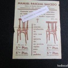 Carteles Publicitarios: MANUEL PASCUAL SALCEDO - FABRICA MUEBLES CURVADOS, TORRECILLA DE CAMEROS, LOGROÑO 28X21CM + INFO. Lote 191728957