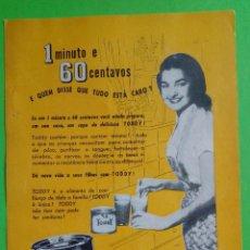 Carteles Publicitarios: ANTIGA PUBLICIDADE TODY. 1957. Lote 192142888