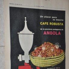 Carteles Publicitarios: HOJA PUBLICIDAD PERIODICO LA VANGUARDIA 1966, CAFE ROBUSTA ANGOLA. Lote 279448483