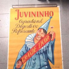 Carteles Publicitarios: JUVININHO ARLEQUIN CARTEL LICOR DIGESTIVO REFRESCANTE AÑO 62 OPORTO PORTUGAL. MED. 70 X 100 CM. Lote 192594617