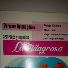 Carteles Publicitarios: CARTEL DE CARTÓN DE AZAFRANES Y ESPECIAS LA MILAGROSA.. Lote 193043912