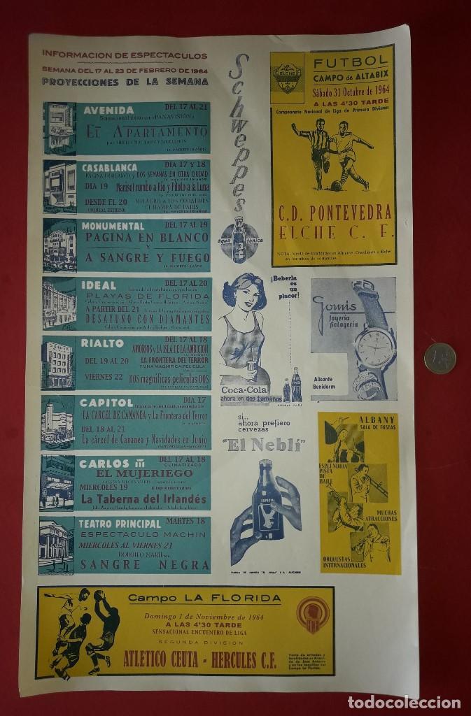 CARTEL PUBLICITARIO , ELCHE C.F. Y HERCULES C.F. ALICANTE CON PUBLICIDAD DEL MOMENTO - 1964 (Coleccionismo - Carteles Gran Formato - Carteles Publicitarios)