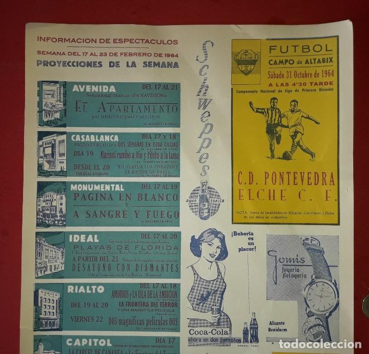 Carteles Publicitarios: CARTEL PUBLICITARIO , ELCHE C.F. y HERCULES C.F. ALICANTE CON PUBLICIDAD DEL MOMENTO - 1964 - Foto 2 - 194341278