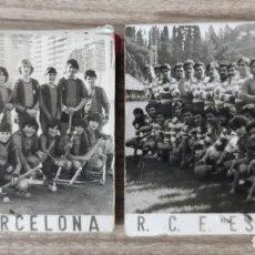 Carteles Publicitarios: CAJAS DE CERILLAS ANTIGUAS R.C.E ESPANYOL Y F.C BARCELONA. Lote 194516276