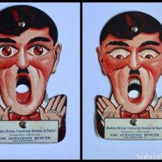 Carteles Publicitarios: ANTIGUA PUBLICIDAD CARTÓN TROQUELADO- OJOS MOVIBLES - ALMACENES BUSUTIL- 1923/36- 14,4 X 9 CM.. Lote 194587331
