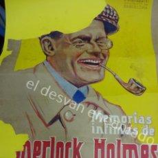 Carteles Publicitarios: SHERLOCK HOLMES. ANTIGUO CARTEL DE EDITORIAL PUBLICITANDO SERIE. INCOMPLETO Y ADHERIDO A CARTULINA. Lote 194678692