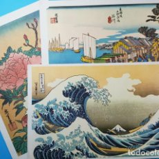 Carteles Publicitarios: LOTE 3 BONITAS LAMINAS JAPONESAS PUBLICIDAD DE LABORATORIOS MADE 27 X 40 CM, CARTEL. Lote 194719585