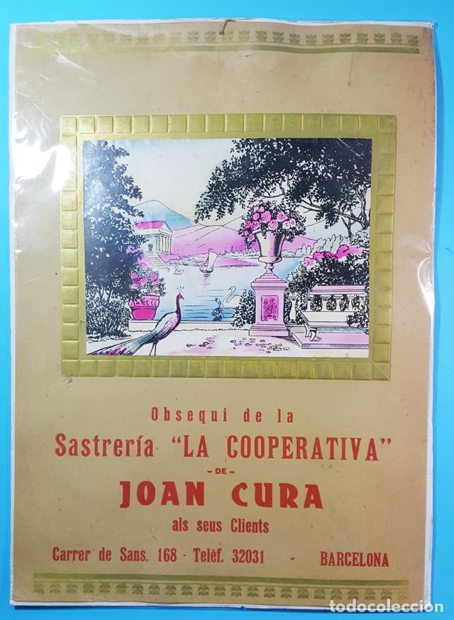 CARTEL CARTON OBSEQUIO DE LA SASTRERIA LA COOPERATIVA DE JOAN CURA BARCELONA 47 X 33,50 CM (Coleccionismo - Carteles Gran Formato - Carteles Publicitarios)