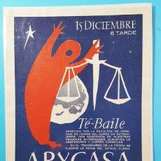 Carteles Publicitarios: CARTEL TE BAILE FACULTAD DE DERECHO EN HOTEL ARYCASA BARCELONA 34 X 27 CM, MUY RARO. Lote 194720435