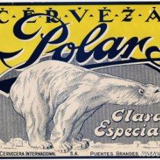 Carteles Publicitarios: CARTEL PUBLICIDAD CERVEZA POLAR - CUBA - AÑOS 40/50 - PRECIOSO. Lote 194730178