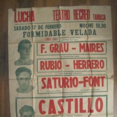 Carteles Publicitarios: CARTEL LUCHA LIBRE-TEATRO RECREO-TARRASA-17 DE FEBRERO 1951-MIDE 68 X 92 CM-VER FOTOS-(V-19.294). Lote 196109090