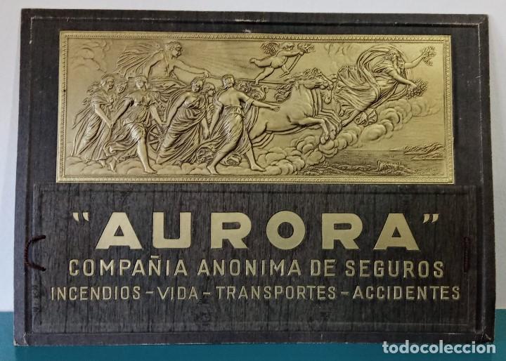 CARTEL PAPELERO COMPAÑÍA ANÓNIMA DE SEGUROS AURORA. CARTÓN RELIEVE. W (Coleccionismo - Carteles Gran Formato - Carteles Publicitarios)
