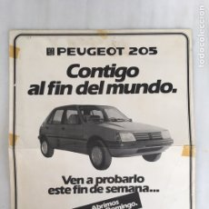 Carteles Publicitarios: CARTEL DOBLE RECORDABLE PEUGEOT 205 TALBOT MOSA. Lote 196748366