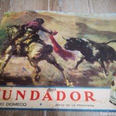 Carteles Publicitarios: PUBLICIDAD PEDRO DOMEQ, FUNDADOR, ORIGINAL AÑOS 50, MEDIDAS 34X42CM. Lote 196941601