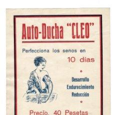 Carteles Publicitarios: AUTO-DUCHA CLEO. PERFECCIONA LOS PECHOS EN 10 DÍAS. CARTEL PUBLICITARIO 20,5X28,5.. Lote 197051821