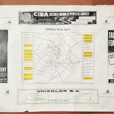 Carteles Publicitarios: CARTEL POSTER INDUSTRIA TEXTIL ESPAÑOLA, TARRASA RAMO AGUA, MONGE 1954 Y PUBLICIDAD. 70 X 100 CM. Lote 198815312
