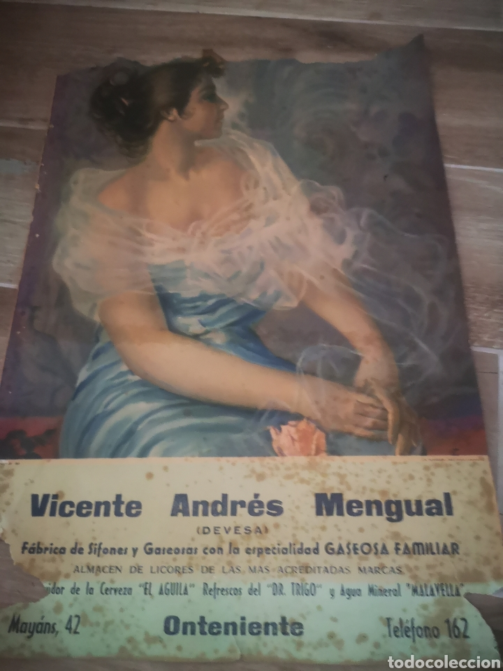 CARTEL PUBLICIDAD VICENTE ANDRES MENGUAL ( DEVESA) SIFONES Y GASEOSAS, ONTENIENTE 48X34 (Coleccionismo - Carteles Gran Formato - Carteles Publicitarios)