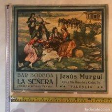 Carteles Publicitarios: CARTEL/CARTÓN BODEGA LA SEÑERA. VALENCIA. Lote 201141828