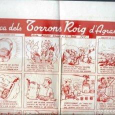 Carteles Publicitarios: AUCA DELS TORRONS ROIG D' AGRAMUNT - LLETRA DE J. VILADOT PUIG, DIBUIXOS DE R. CREUS - MOLT ANTIC. Lote 202596536