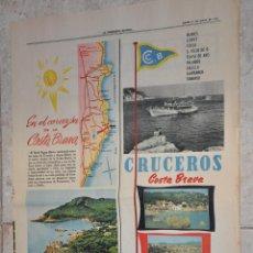 Affissi Pubblicitari: HOJA PERIODICO LA VANGUARDIA 1962, PUBLICIDAD HOTEL AIGUA BLAVA, BEGUR, GERONA, COSTA BRAVA. Lote 204003167