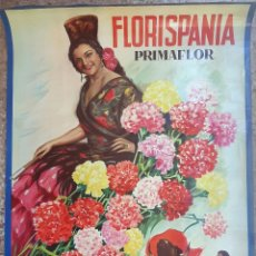 Carteles Publicitarios: CARTEL PUBLICIDAD FLORES FLORISPANIA LITOGRAFIA CON BRILLO LOLA FLORES , REUS, ORIGINAL. Lote 204082316
