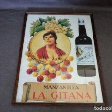 Carteles Publicitarios: 1985, CARTEL VINTAGE, MANZANILLA LA GITANA, PUERTO DE S. MARÍA, ENMARCADO, UNOS 62 X 50 CMS.. Lote 204706348