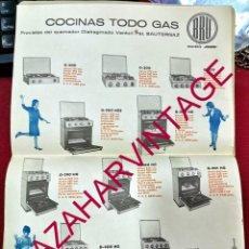 Carteles Publicitarios: 1962, COCINAS TODO GAS BRU, 21X30 CMS. Lote 205670547