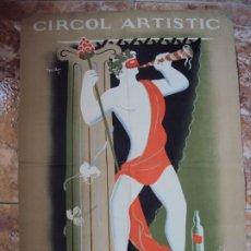 Carteles Publicitarios: (CAR-200523)FERRAN TEIXIDOR. CIRCOL ARTÍSTIC. BALL DE DISFRESSES. FESTA DE BACUS. 24 FEBRER, 1936.. Lote 207183036