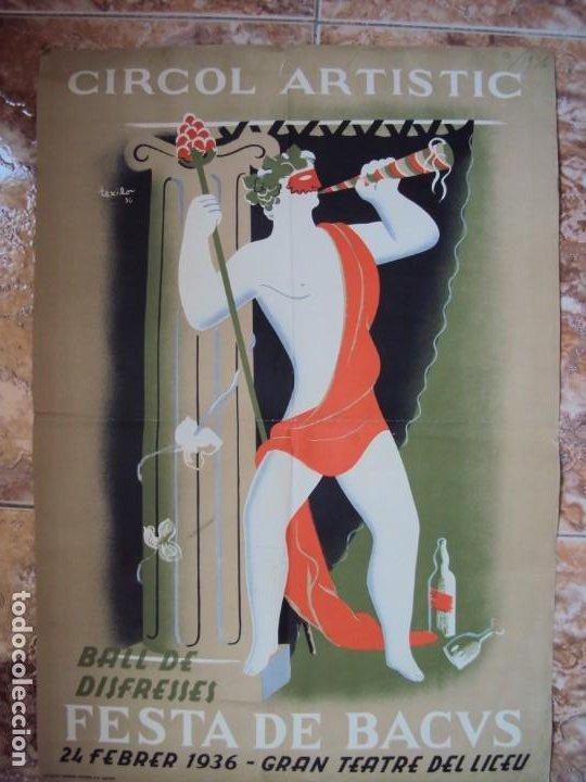 Carteles Publicitarios: (CAR-200523)Ferran Teixidor. Circol Artístic. Ball de Disfresses. Festa de Bacus. 24 febrer, 1936. - Foto 10 - 207183036