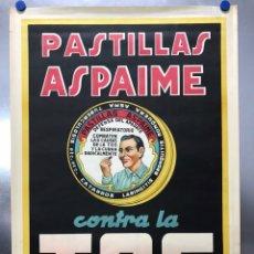 Affissi Pubblicitari: CARTEL PASTILLAS ASPAIME TOS (HOMBRE) - CARTEL LITOGRAFICO - AÑOS 1940. Lote 208685440