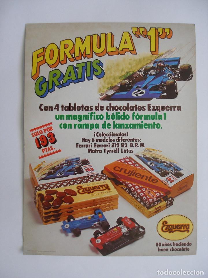 CARTEL CARTÓN ( 40 X 29 CM ) CHOCOLATES EZQUERRA PROMOCIÓN BÓLIDOS FORMULA 1 AÑO 1979 (Coleccionismo - Carteles Gran Formato - Carteles Publicitarios)