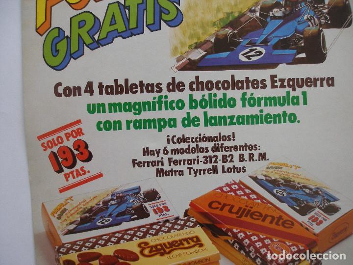 Carteles Publicitarios: Cartel cartón ( 40 x 29 cm ) Chocolates Ezquerra promoción bólidos Formula 1 año 1979 - Foto 3 - 220555273
