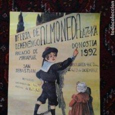 Carteles Publicitarios: CARTEL 1ª FERIA DE ALMONEDA DE SAN SEBASTIÁN 1992 ( PALACIO DE MIRAMAR). Lote 209198225