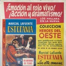 Carteles Publicitarios: CARTEL. LOS BATIDORES DE TEXAS. COLECCION HEROES DEL ESTE. ED. BRUGUERA.MEDIDAS APROX.:50 X 34.5 CM. Lote 210827784