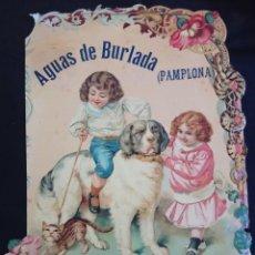 Carteles Publicitarios: PRECIOSO CARTEL AGUAS DE BURLADA. PAMPLONA . FINALES DE SIGLO XIX. Lote 212039761