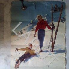 Affissi Pubblicitari: GRAN CARTEL ESQUÍ EN LOS PIRINEOS AX LES THERMES AÑOS 50 A RESTAURAR. Lote 214104063