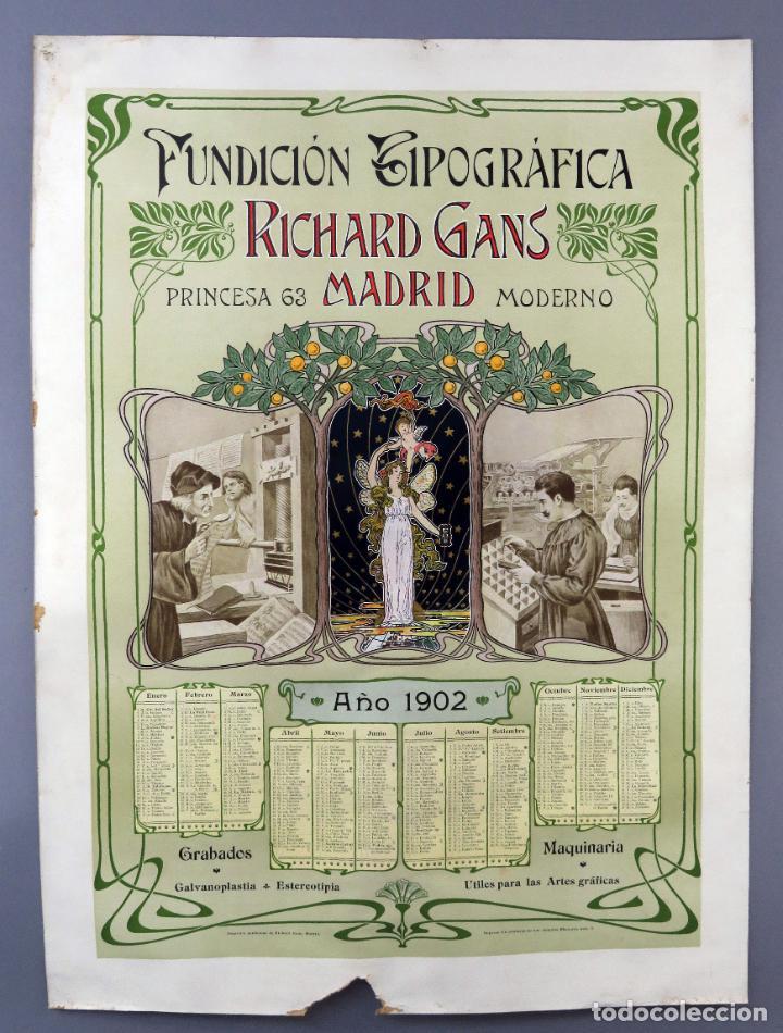 CARTEL MODERNISTA CALENDIARIO 1902 RICHARD GANS FUNDACIÓN TIPOGRÁFICA CALLE PRINCESA 65 MADRID (Coleccionismo - Carteles Gran Formato - Carteles Publicitarios)