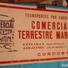 Carteles Publicitarios: COMERCIAL TERRESTRE MARITIMA CARTEL DE CARTON ORIGINAL AÑOS 40-50--- 50X24,5 -IMPORTANTE LEER. Lote 218391758